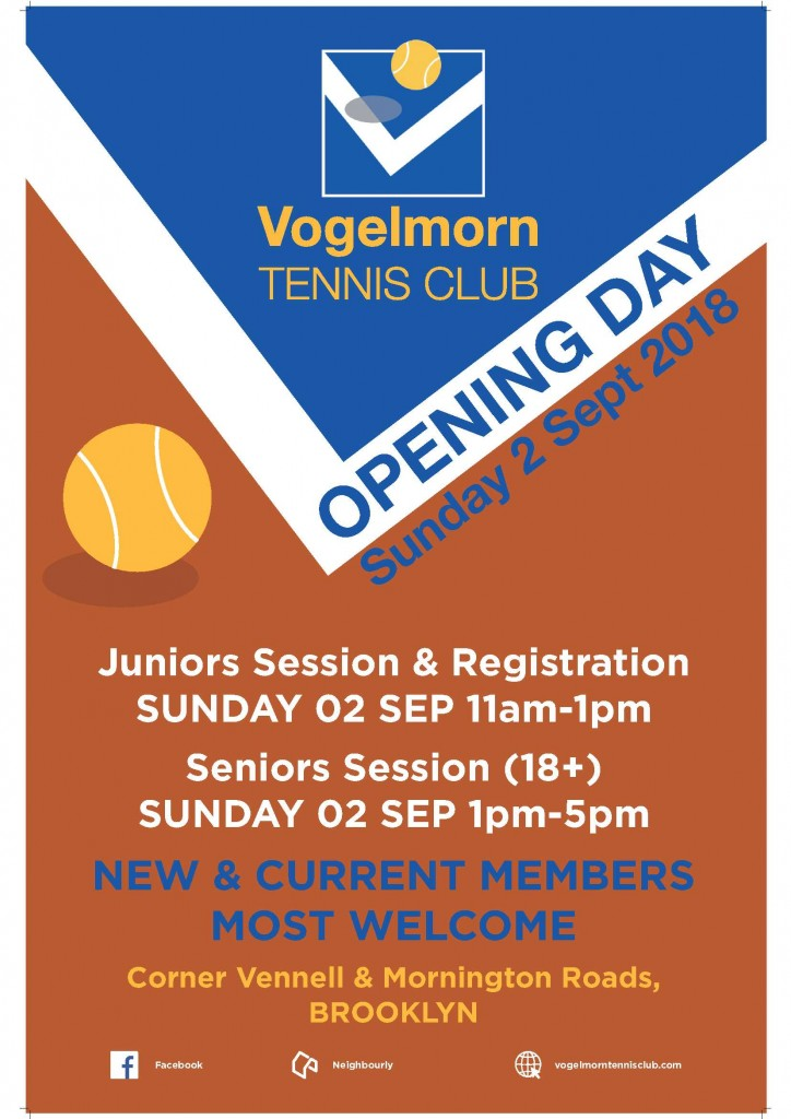 Vogelmorn Tennis Club Opening Day Poster 2018